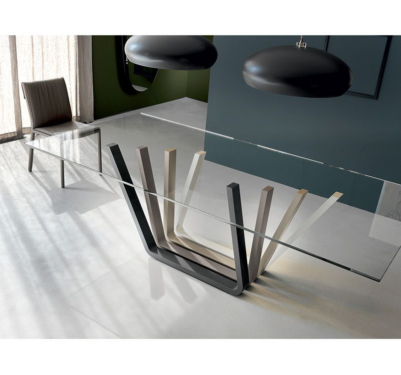 Domino dining table dining tables dining cattelan italia modern furniture - Base per tavoli in cristallo ...
