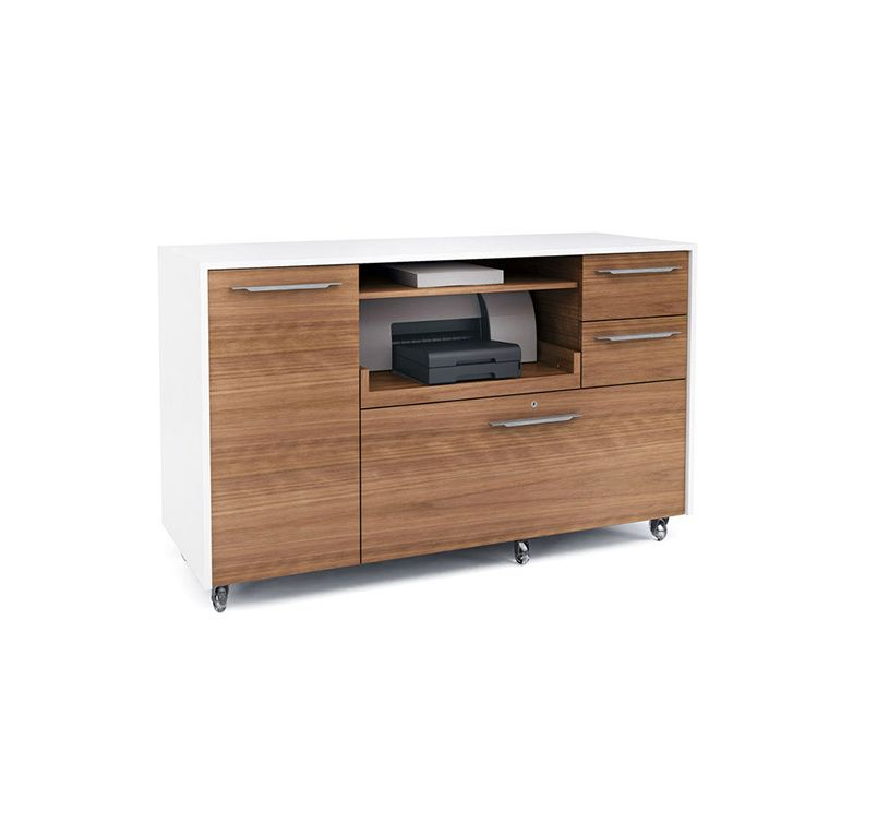 Mobile Credenza In Satin White With Natural Walnut