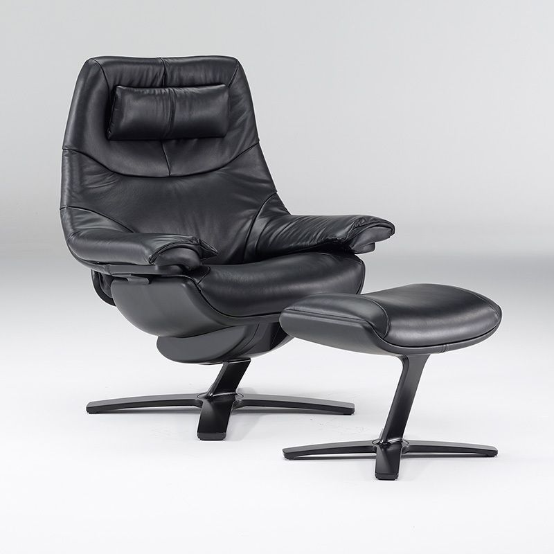 Delicieux Tailored Chair King Size With Headrest In Pitch Black Leather